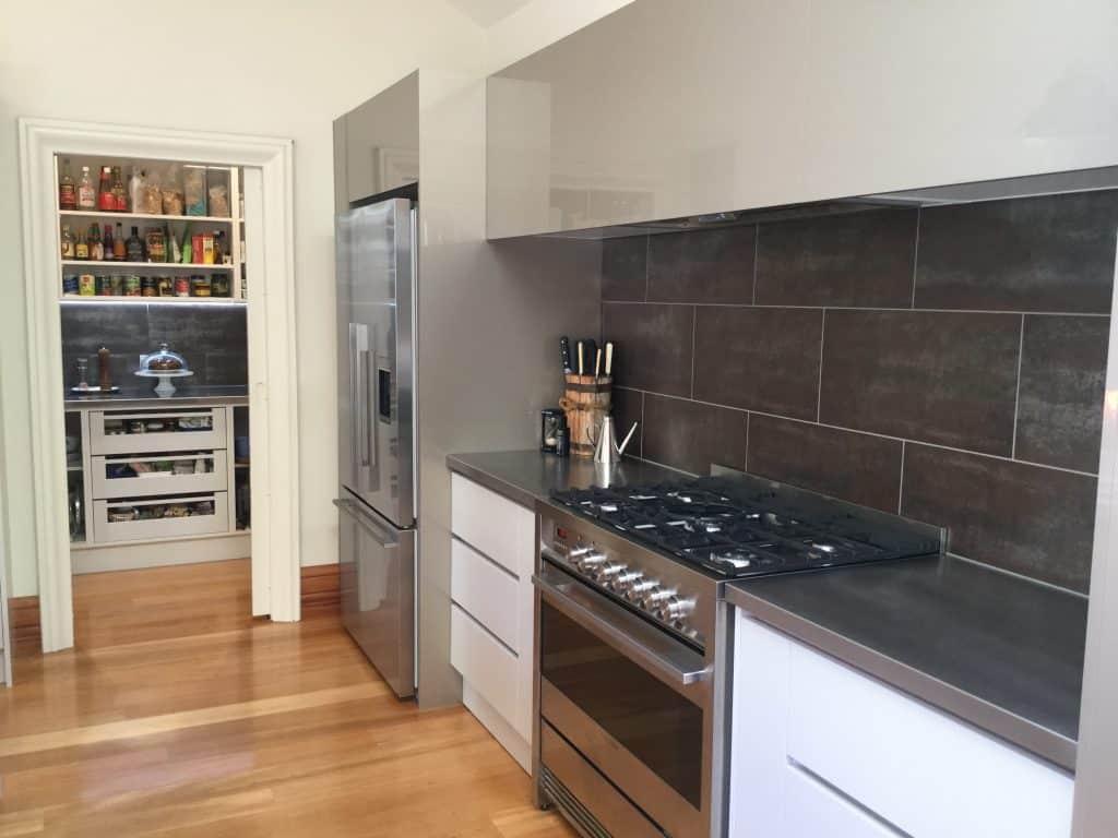 Thorndon, Wellington Interior Design Consultation - Contemporary kitchen., Butler's pantry, Metallic tiled splashback, High gloss joinery